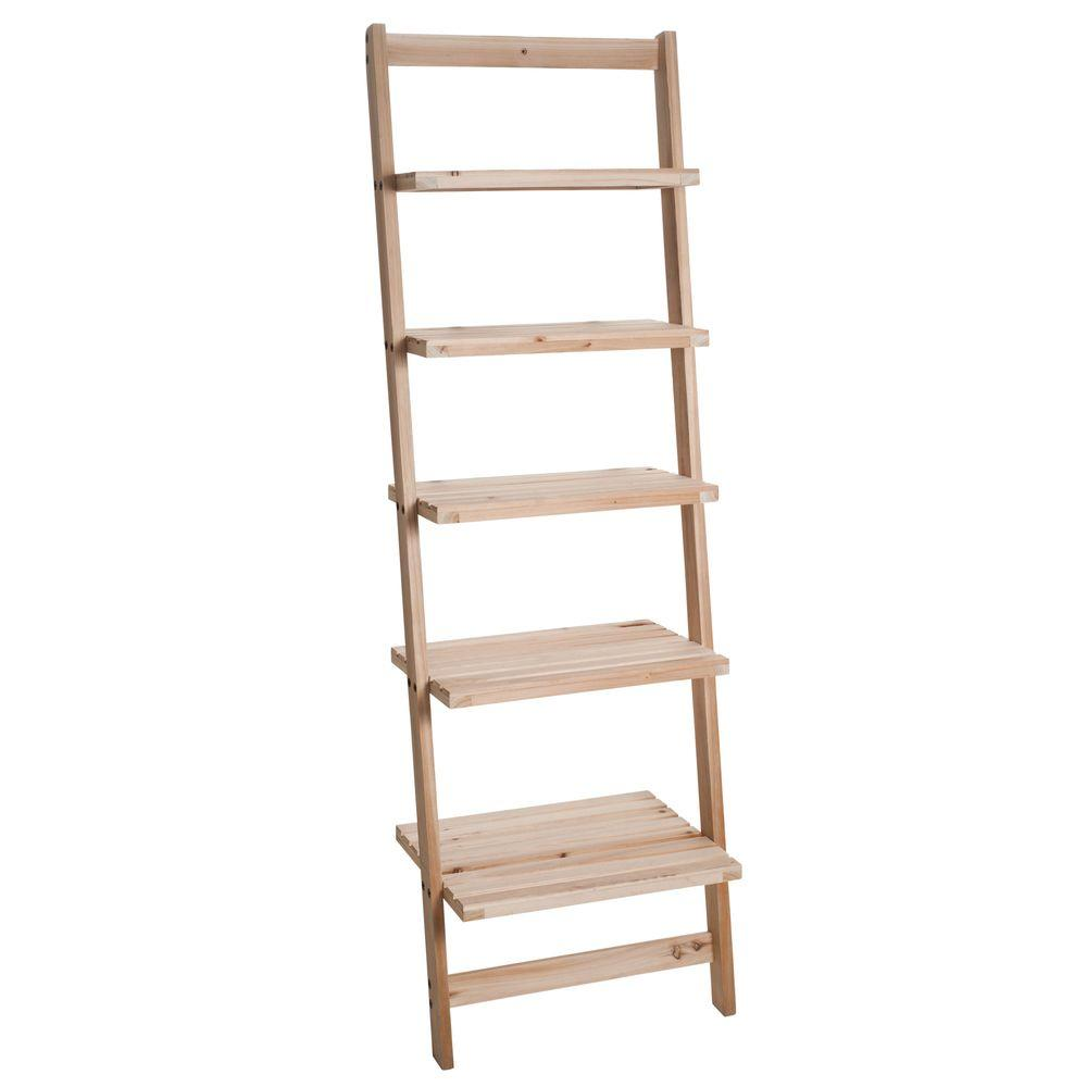 5-Tier Ladder Blonde Wood Storage Shelf
