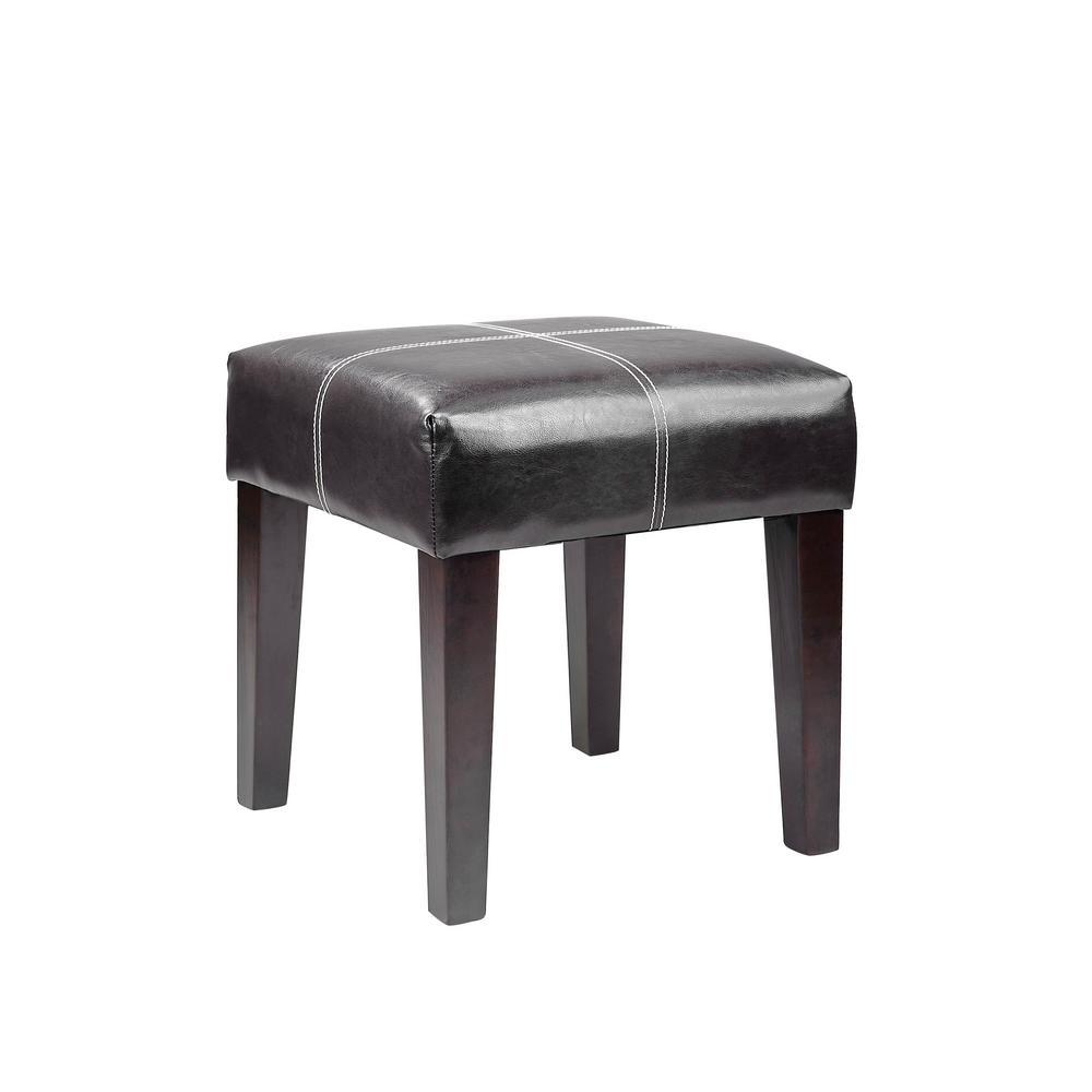 "Antonio 16"" Square Bench in Black Bonded Leather"