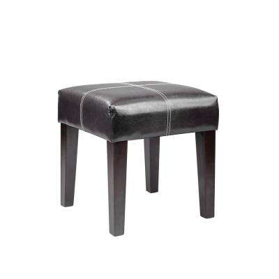 "Antonio 16"" Square Bench in Black Bonded Leather"