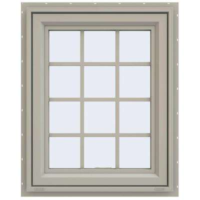 29.5 in. x 35.5 in. V-4500 Series Awning Vinyl Window with Grids - Tan