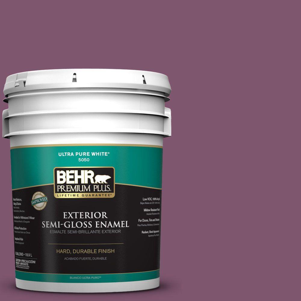 BEHR Premium Plus 5-gal. #M110-7 Euphoric Magenta Semi-Gloss Enamel Exterior Paint