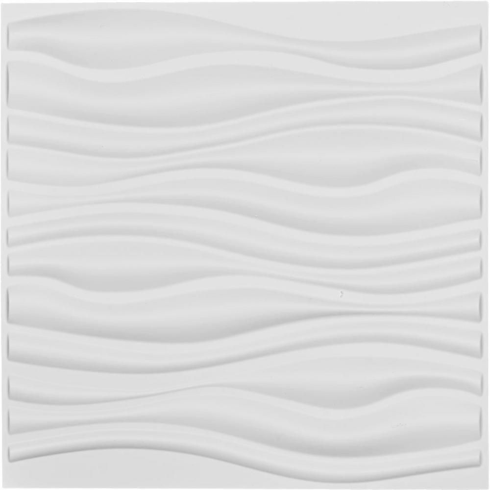 Ekena Millwork 1 in. x 19-5/8 in. x 19-5/8 in. White PVC Leandros EnduraWall Decorative 3D Wall Panel