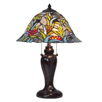 Benita 22.5 in. Antique Bronze Table Lamp with Tiffany Shade