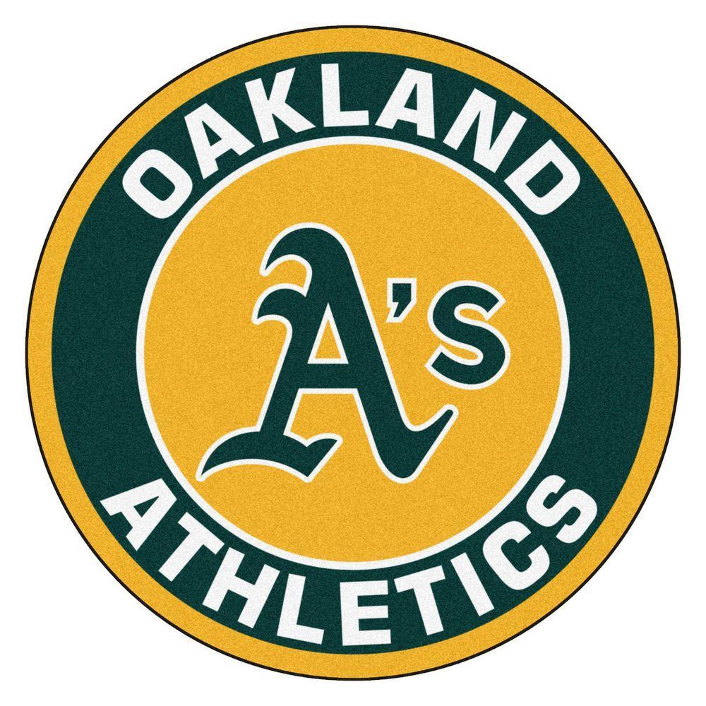 MLB Oakland Athletics Green 2 ft. x 2 ft. Round Area Rug