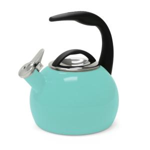 Click here to buy Chantal Anniversary 8-cups Enamel-On-Steel Aqua Tea Kettle by Chantal.