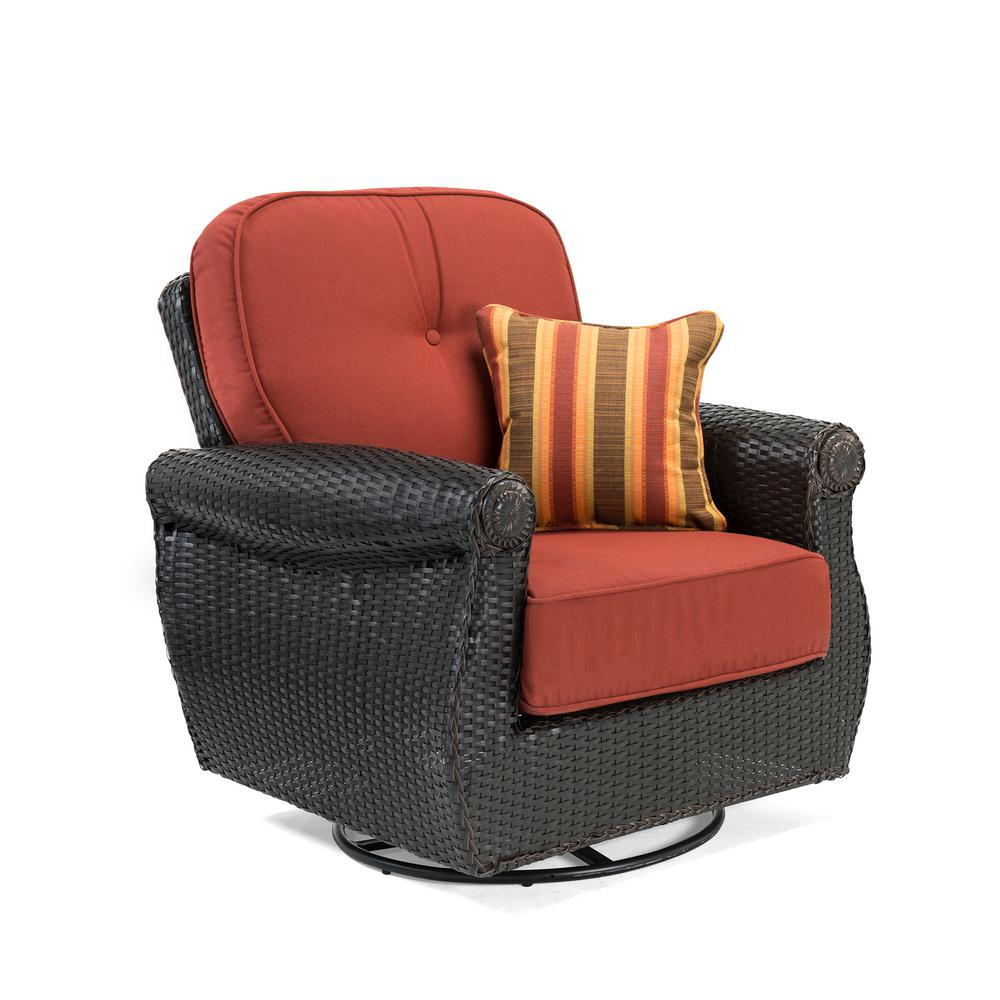 Breckenridge Swivel Wicker Outdoor Lounge Chair with Sunbrella Meredian Brick