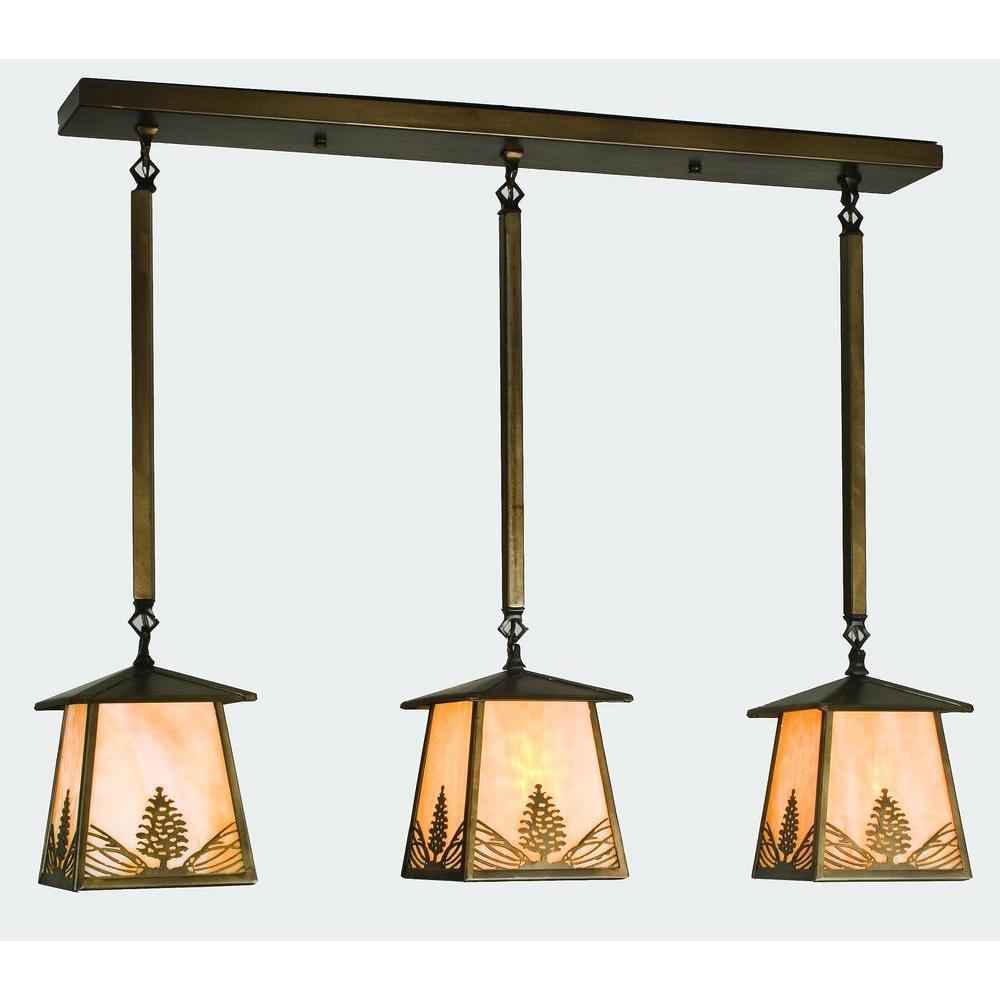 Illumine 3 Light Mountain Pine Island Pendant Antique Copper Finish
