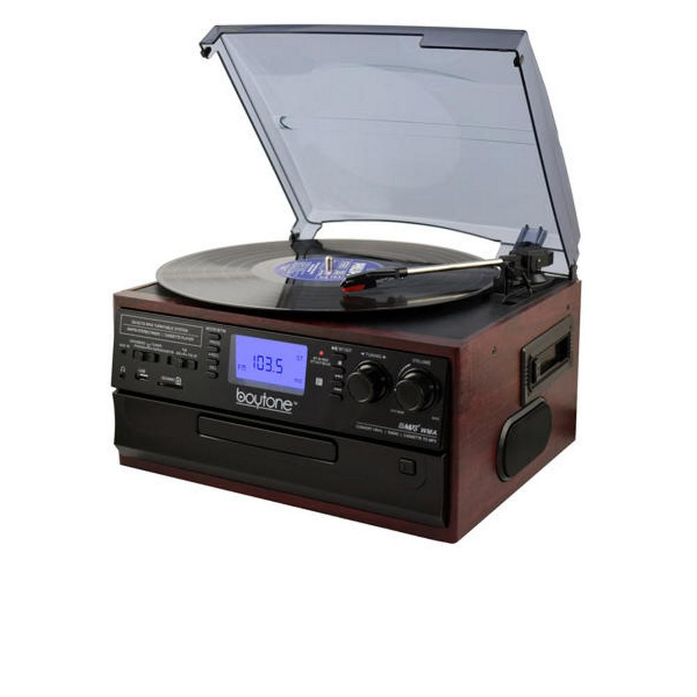 9-in-1 Turntable Stereo System in Cherry