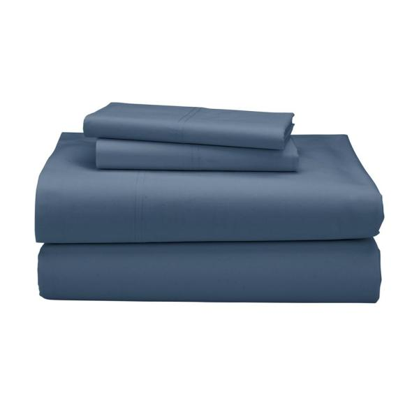 The Company 3 Piece Shadow Blue 300 Thread Count Percale Twin Sheet Set