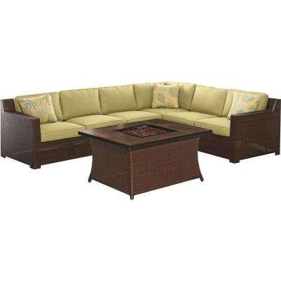 Metropolitan 6-Piece All-Weather Wicker Patio Fire Pit Seating Set with Avocado Green Cushions and Wood Grain Tile Table
