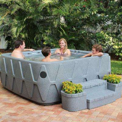 Elite 500 5-Person Lounger Plug and Play Hot Tub with 29 Stainless Jets, Ozone and LED Waterfall in Graystone