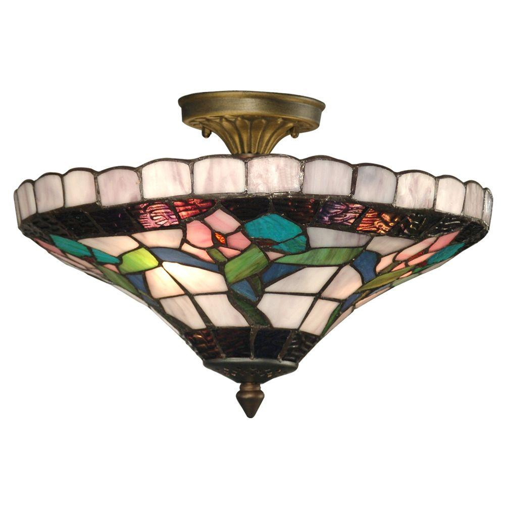 Dale Tiffany Hollyhock 3-Light Antique Brass Semi-Flush Mount Light with Art Glass Shade