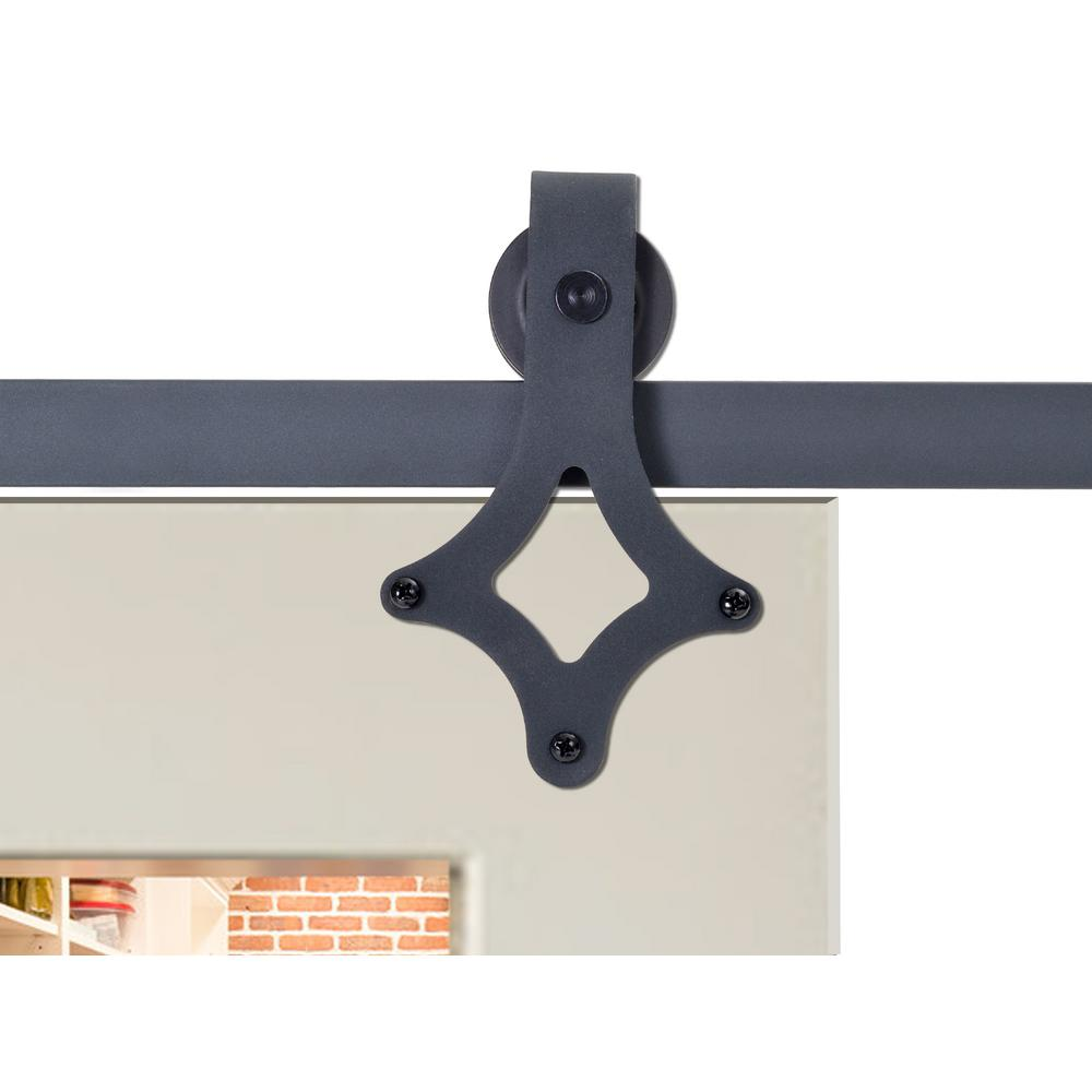 72 in. Matte Black Rustic Star Barn Style Sliding Door Track