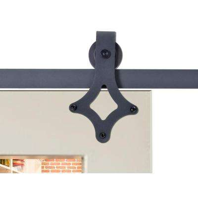 72 in. Matte Black Rustic Star Barn Style Sliding Door Track and Hardware Set