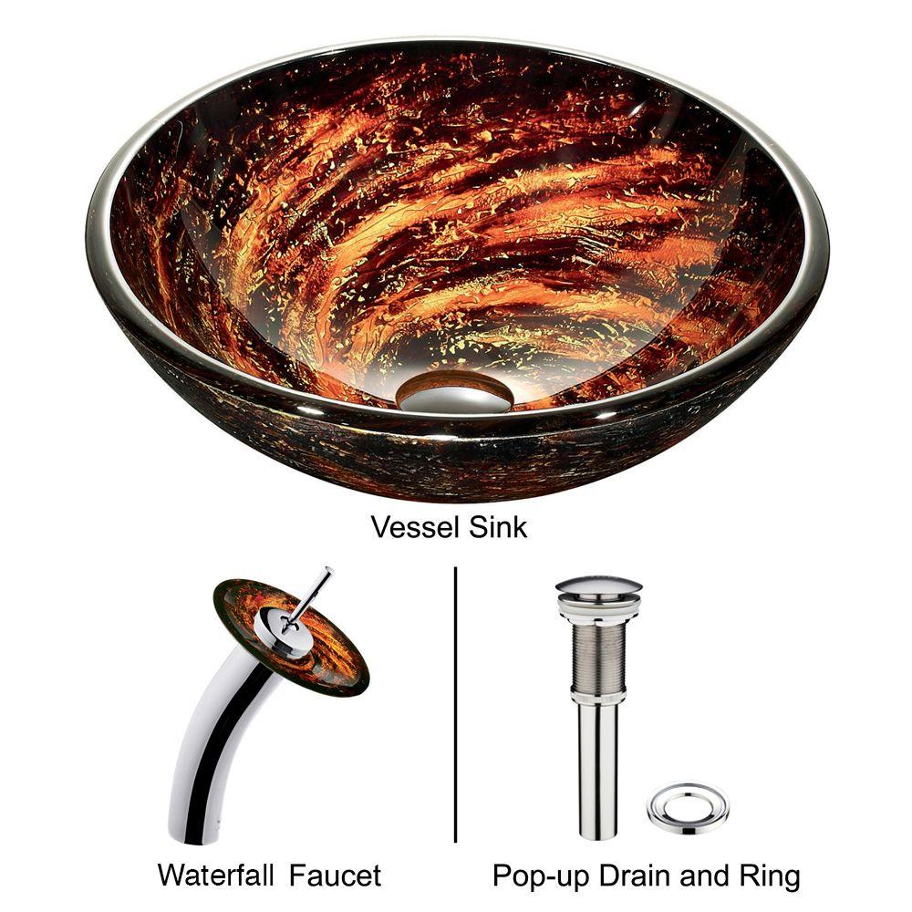 Northern Lights Vessel Sink in Browns with Waterfall Faucet in Chrome
