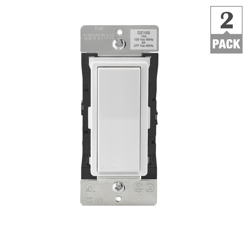 Leviton Decora Smart with Z-Wave Technology 15 Amp Switch, White/Light Almond (2-Pack)