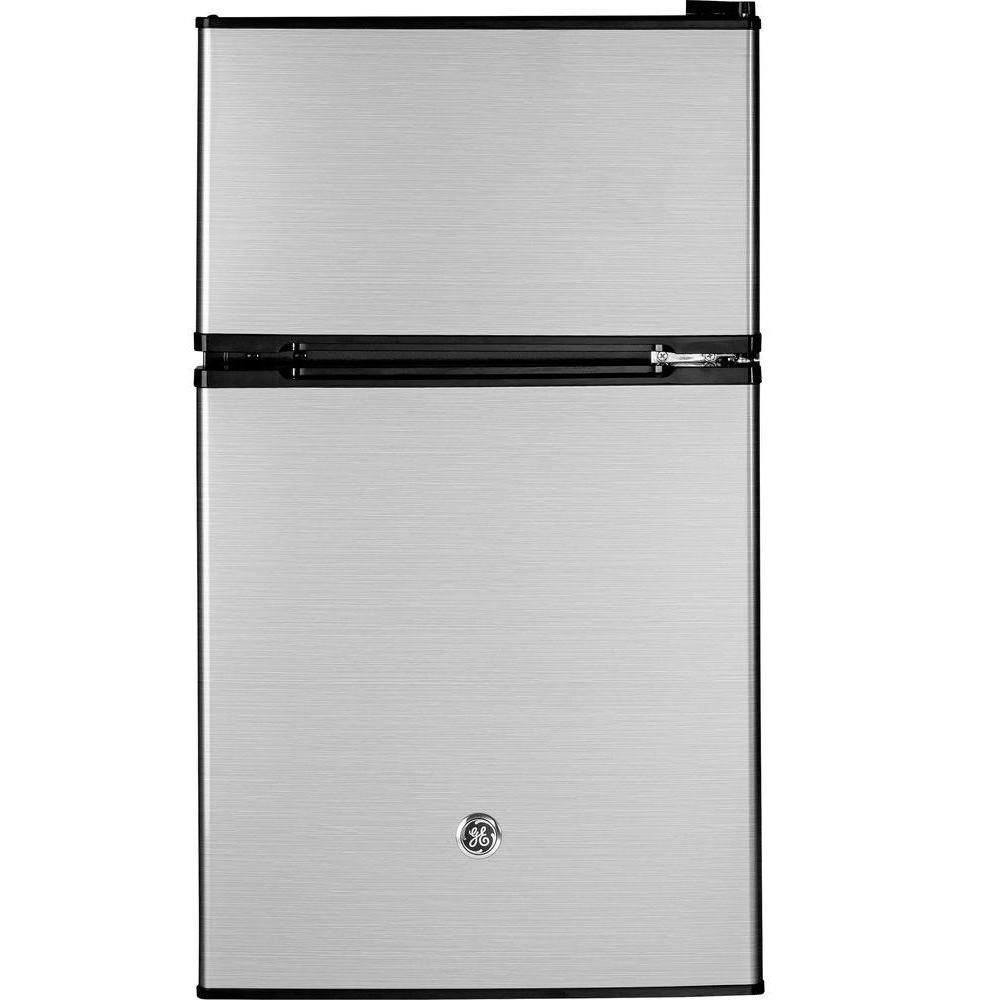 Ge 3 1 Cu Ft Double Door Mini Refrigerator In Clean Steel