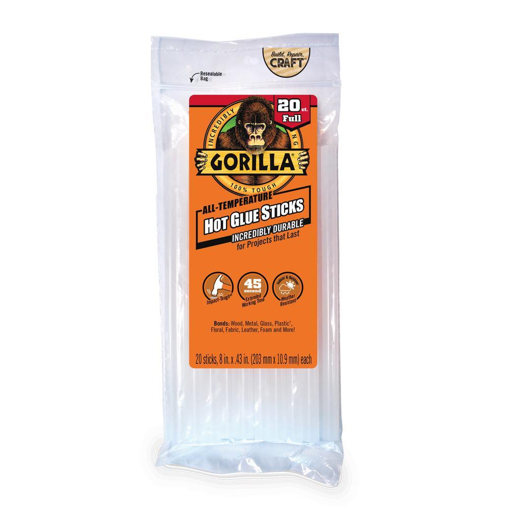 Gorilla 8 in. Full Hot Glue Sticks (20-Count) (4-Pack)