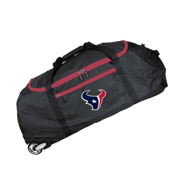 Denco NFL Houston Texans 36 in. Checked-In Rolling Duffel in Black