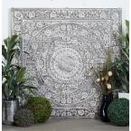 "Litton Lane 60 in. x 60 in. ""Antique White Carved Botanical Scrollwork"" Framed Wooden Wall Art"