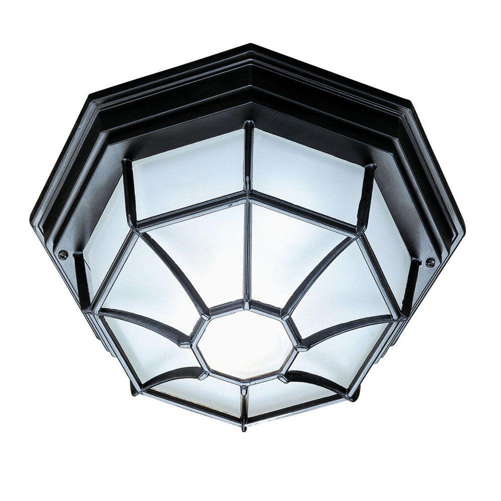 Flushmount Collection Ceiling-Mount 2-Light Outdoor Matte Black Light Fixture