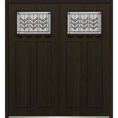 72 in. x 80 in. Prairie Bevel Right-Hand Inswing 1/4-Lite Decorative Stained Fiberglass Fir Prehung Front Door w/ Shelf