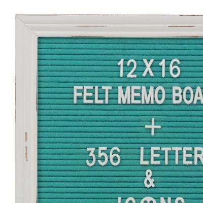 Turquoise Felt Memo Board with White Wash Wooden