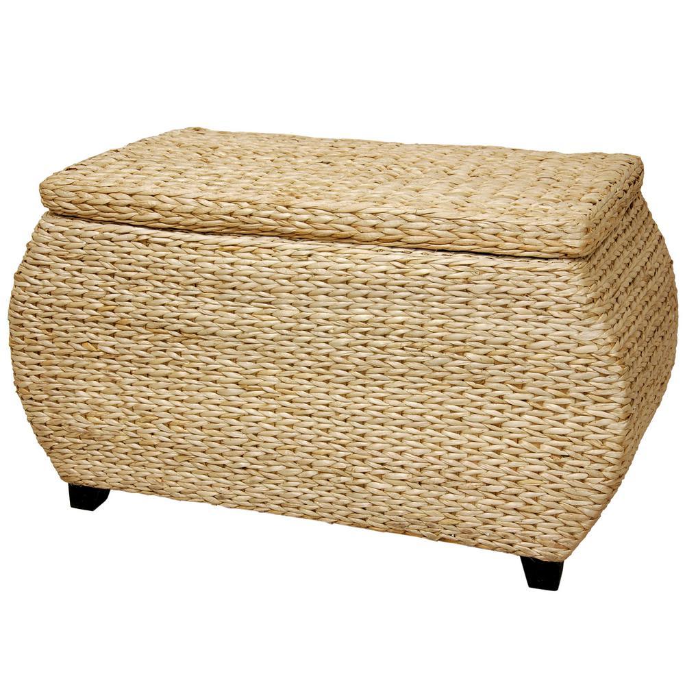 Oriental Furniture Beige and Tan Trunk FB-STOR-NAT