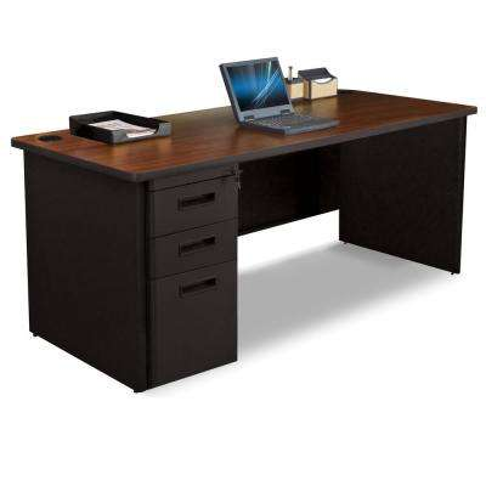 72 in. W x 30 in. D Mahogany Laminate and Dark Neutral  Single Full Pedestal Desk