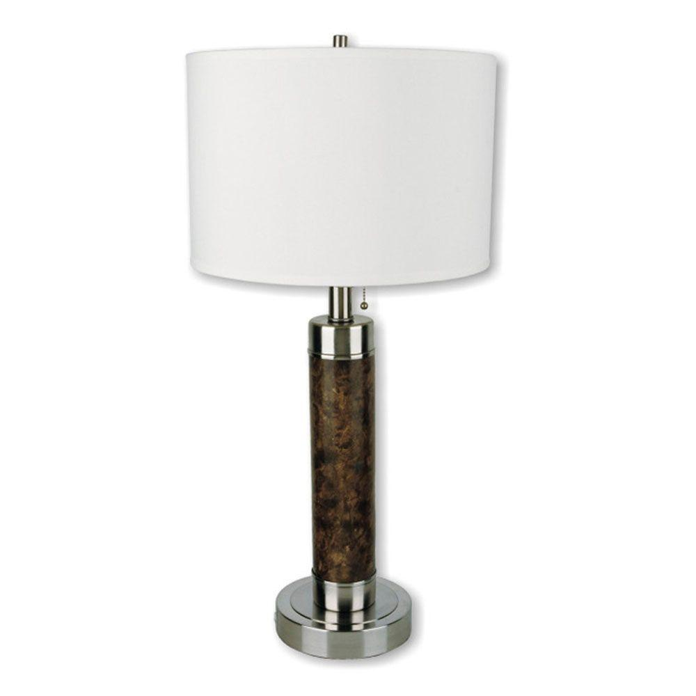 Cylinder Walnut Table Lamp