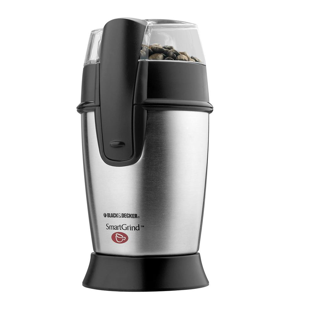 Pulse Control Coffee Grinder, Silver/Black With 1-touch pulse control and durable stainless steel blades, you'll enjoy the precise results of coffee beans ground to your personal taste. A compact, contemporary stainless steel design combined with built-in cord storage allows you to savor the rich aroma and flavor of fresh ground coffee without taking up a lot of counter space. Also great for grinding nuts and spices. Color: Stainless Steel/Black.