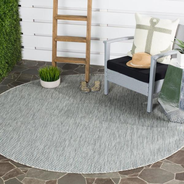 Safavieh Courtyard Gray Navy 5 Ft X 5 Ft Indoor Outdoor Round Area Rug Cy8521 36812 5r The Home Depot