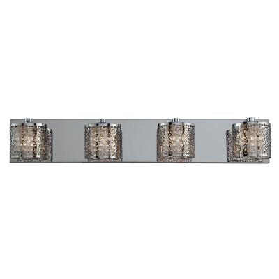 28.25 in. 4-Light Mirrored Stainless Steel Vanity Light with Laser Cut Shades