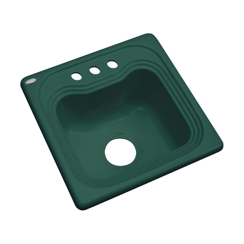Thermocast Oxford Drop-In Acrylic 16 in. 3-Hole Single Bowl Kitchen Sink in Rain Forest