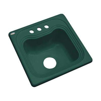 Oxford Drop-In Acrylic 16 in. 3-Hole Single Bowl Kitchen Sink in Rain Forest