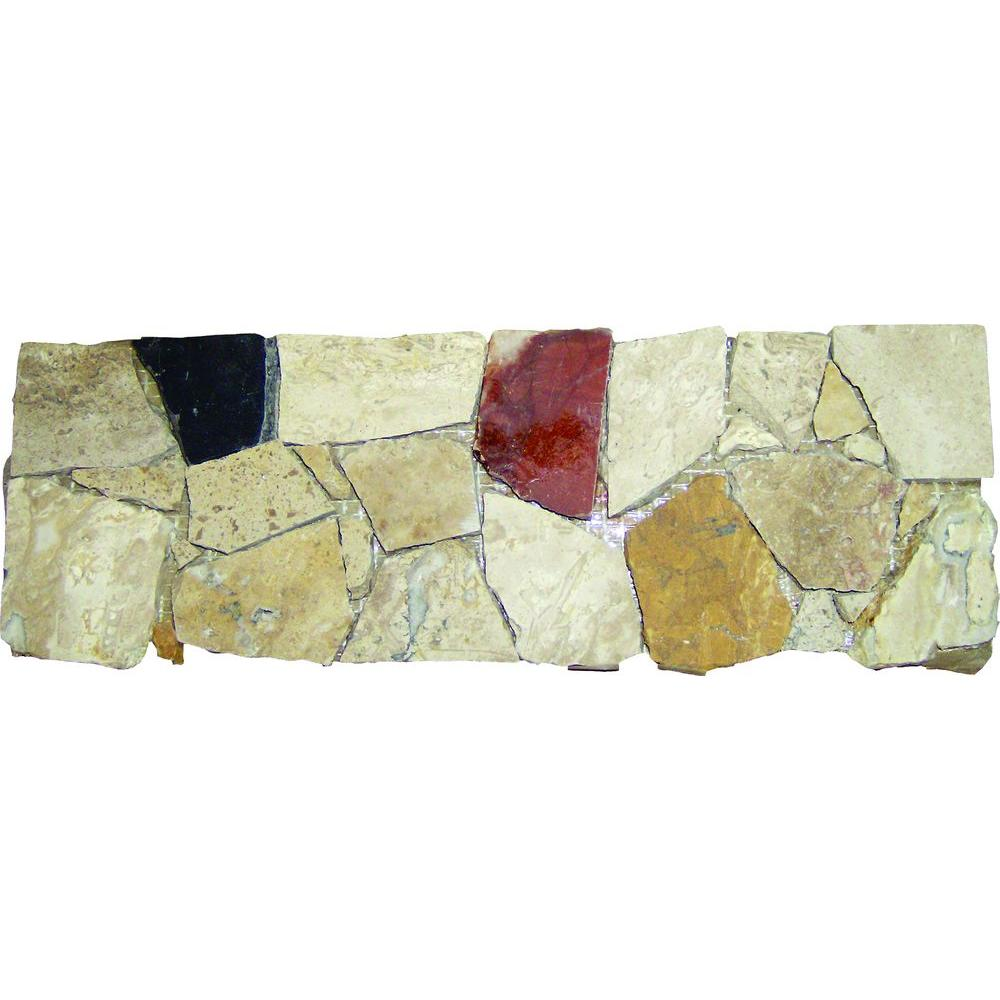 MSI Spanish Rock Strip 4 in. x 12 in. Marble Listello Floor and Wall Tile