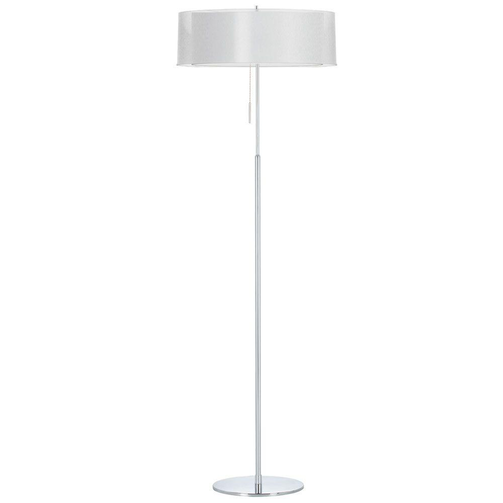 Catherine 61 in. Incandescent Polished Chrome Floor Lamp with White Linen