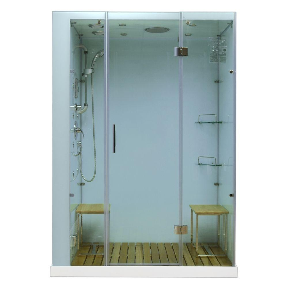 Steam Planet Orion 59 in. x 32 in. x 86 in. Steam Shower Enclosure in White
