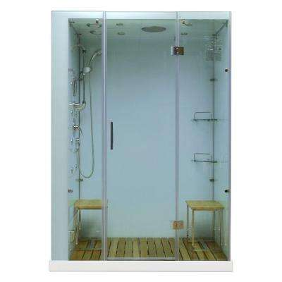 Orion Plus 59 in. x 40 in. x 86 in. Steam Shower Enclosure in White