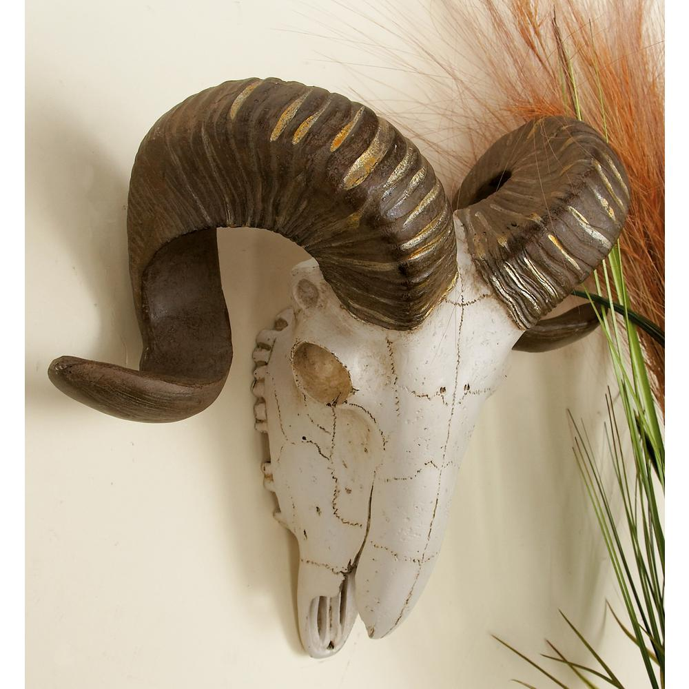 Litton Lane Polystone Brown And White Ram Skull With Horns Wall Decor