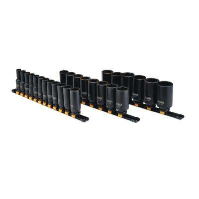 1/2 in. Drive Metric Deep Impact Socket Set (26-Piece)