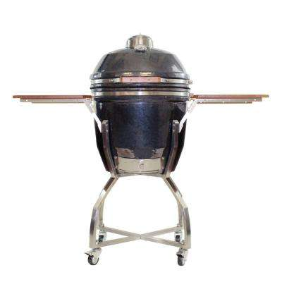 19 in. Ceramic Kamado Grill in Gun Metal with Stainless Steel Cart and Protective Cover