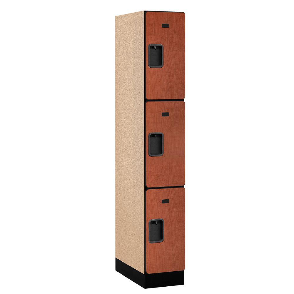 33000 Series 12 in. W x 76 in. H x 21 in. D 3-Tier Designer Wood Locker in Cherry