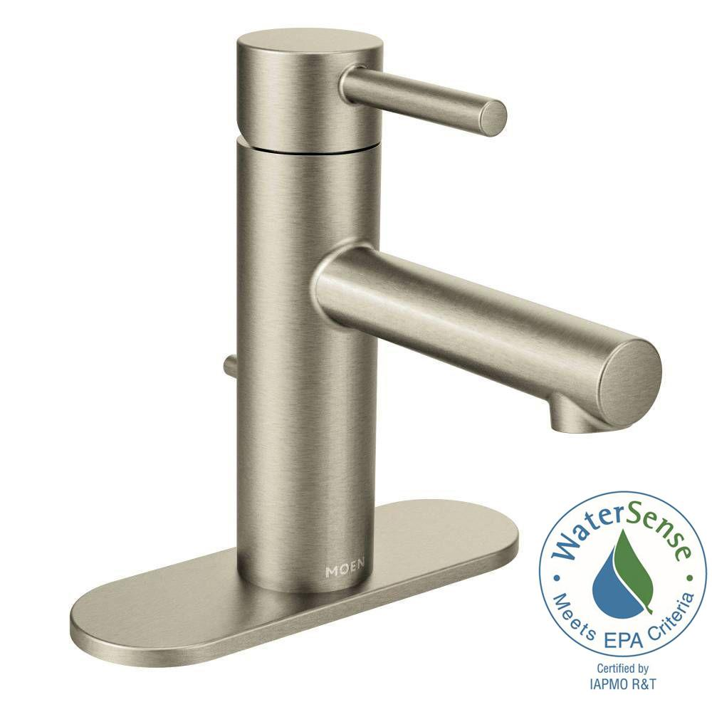 Moen Align Single Hole 1 Handle Bathroom Faucet In Brushed Nickel 6190bn The Home Depot