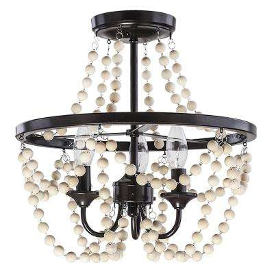 Jasper 16 in. 3-Light Bronze and Wood Bead Semi Flush
