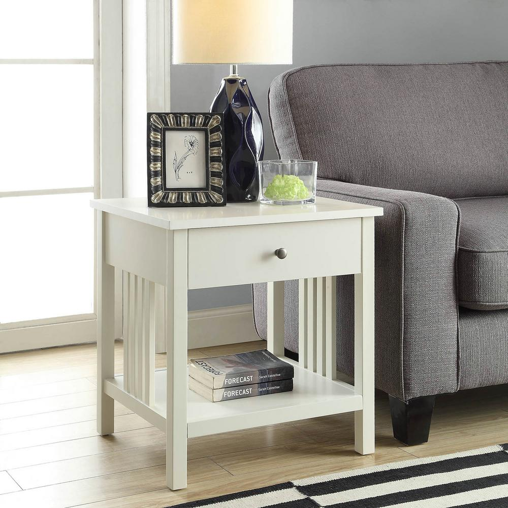USL Mission White Side Table
