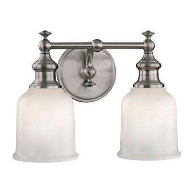 Palermo 2-Light Satin Nickel Sconce with Opal Glass