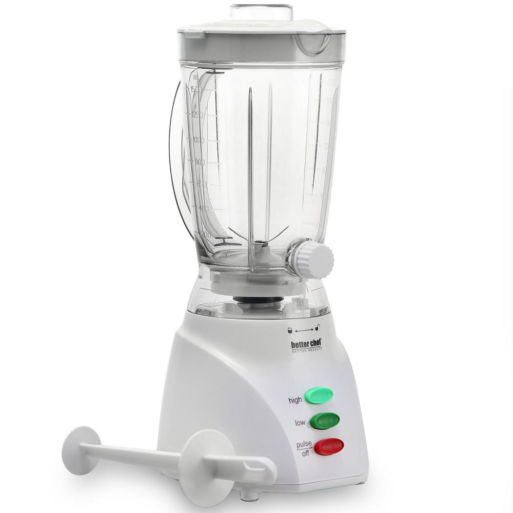 Beverage Dispensing White Blender Better Chef Dispensing Blender in White ensures smooth results. It's not a party without the fun of a Better Chef Dispensing Blender. Using the Better Chef Dispensing Blender, these powerful blenders pull ingredients down to the blades, creating silky smoothies and creamy shakes without chunks of ice or fruit. Enjoy easy-to-serve drinks that are always smooth and delicious!