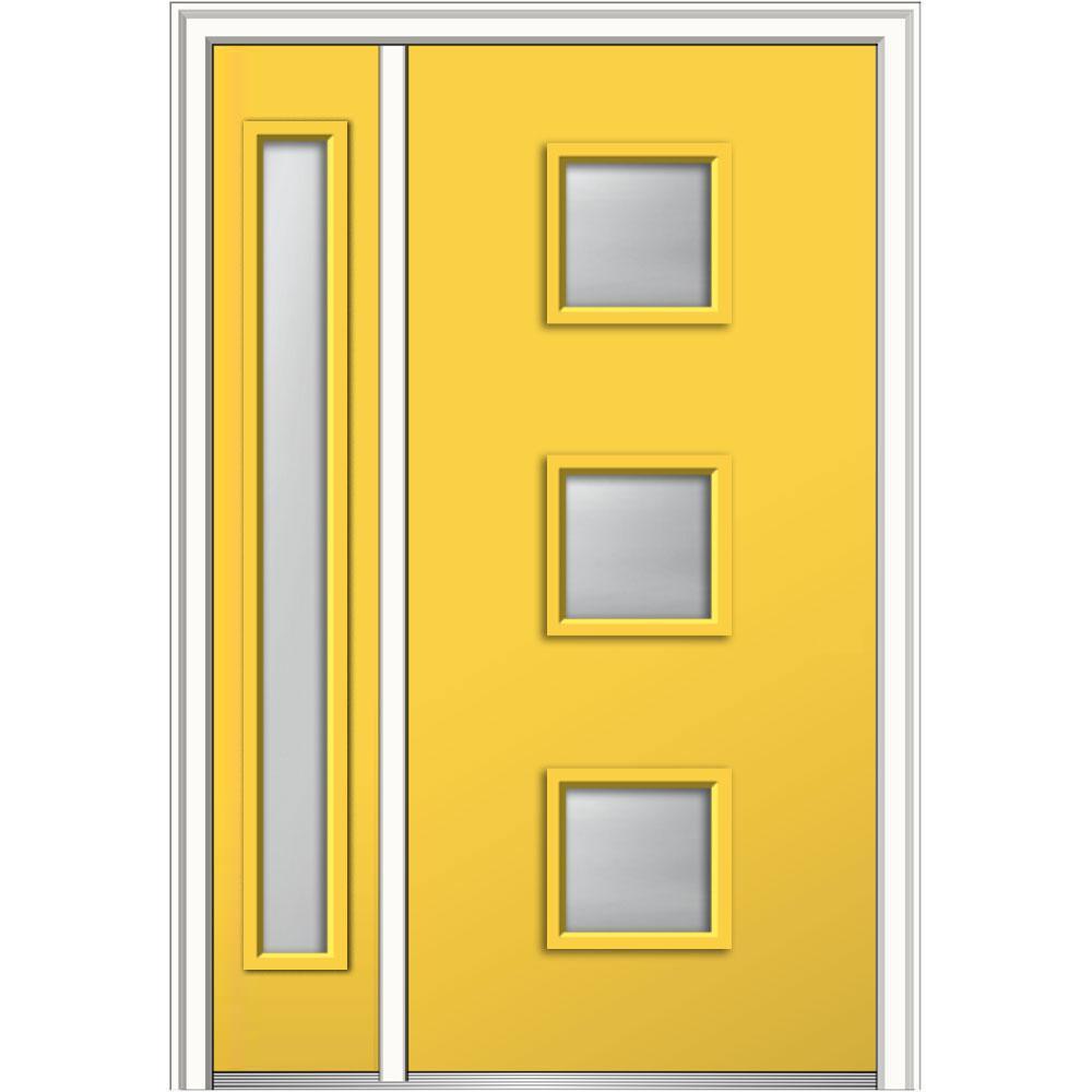 Mmi Door 48 In X 80 In Aveline Frosted Glass Left Hand 3 Lite