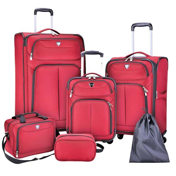6-Piece Red Nested Value Luggage Set Expansion and Spinners on Vertical Luggage